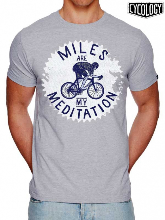 Cycology t shirt miles are my meditation grijs t for Miles t shirt shop